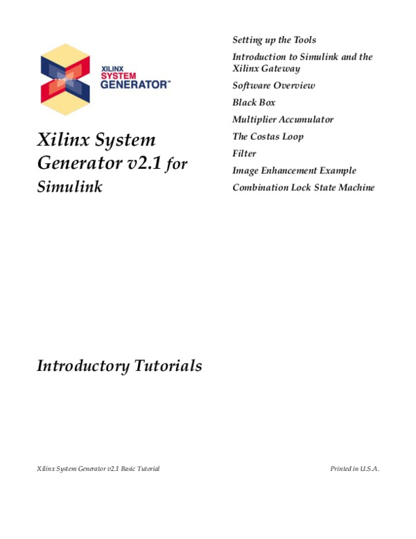 PDF) Xilinx System Generator v2 1 for Simulink Introductory