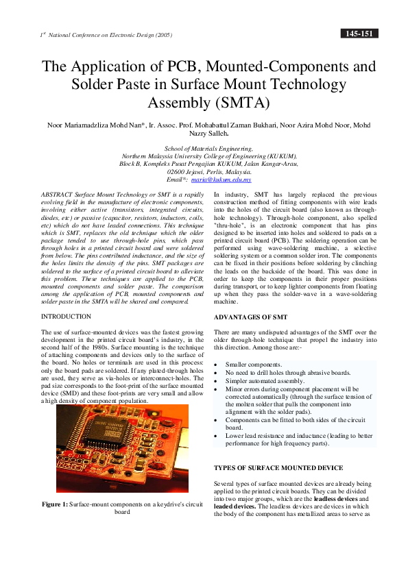 PDF) The application of PCB, mountedcComponents and solder