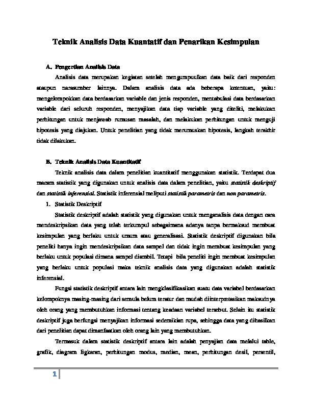 Teknik Analisis Data Kuantatif Dan Penarikan Kesimpulan Zul Fikar Academia Edu