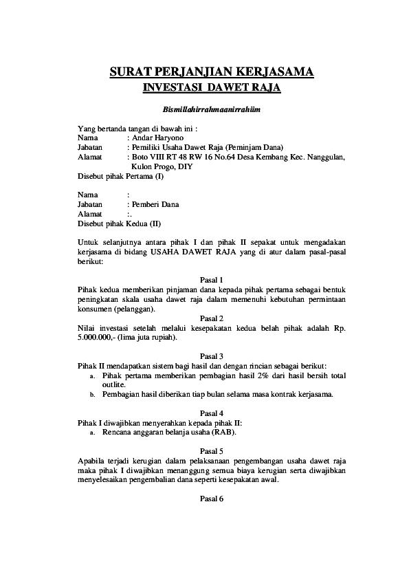 Contoh Surat Perjanjian Kontrak Kerjasama Investasi