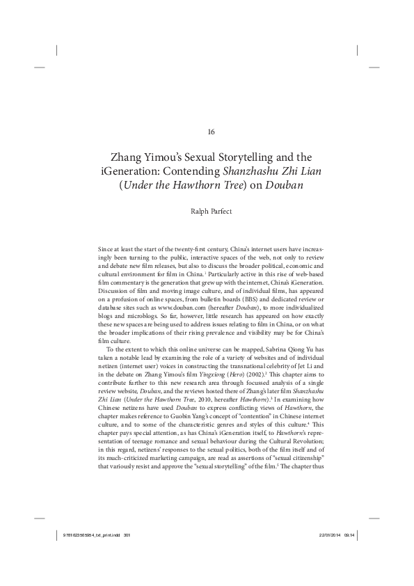PDF) Zhang Yimou's sexual storytelling and the iGeneration