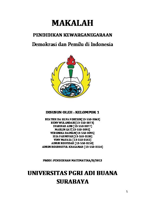 Doc Makalah Demokrasi Dan Pemilu Di Indonesia Syarifah Aini Academia Edu