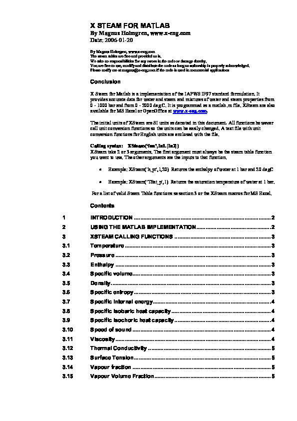 PDF) X STEAM FOR MATLAB | Gar Ta - Academia edu
