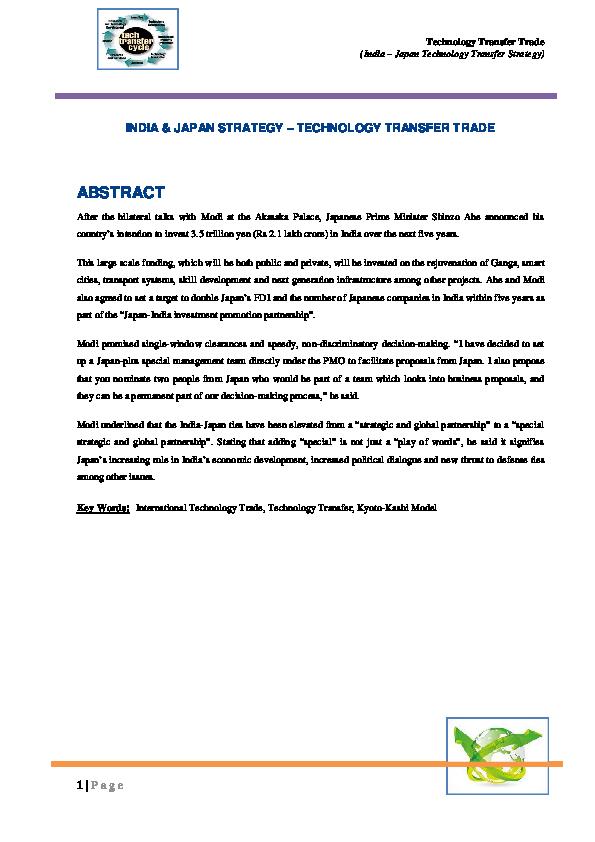PDF) Technology Transfer Trade (India – Japan Technology