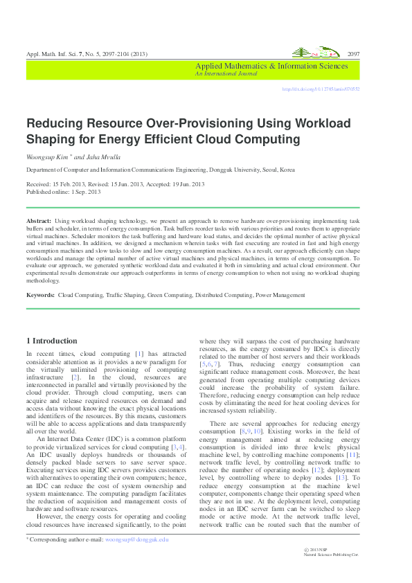 PDF) Reducing Resource Over-Provisioning Using Workload Shaping for