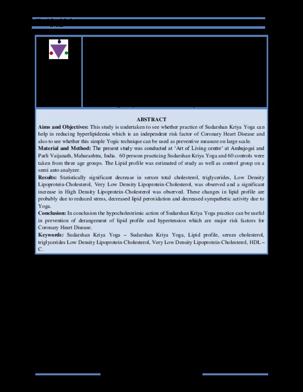 Pdf Mungal Shreechakradhar U Effect Of Sudarshan Kriya Yoga On Lipid Profile Shreechakradhar Mungal Academia Edu