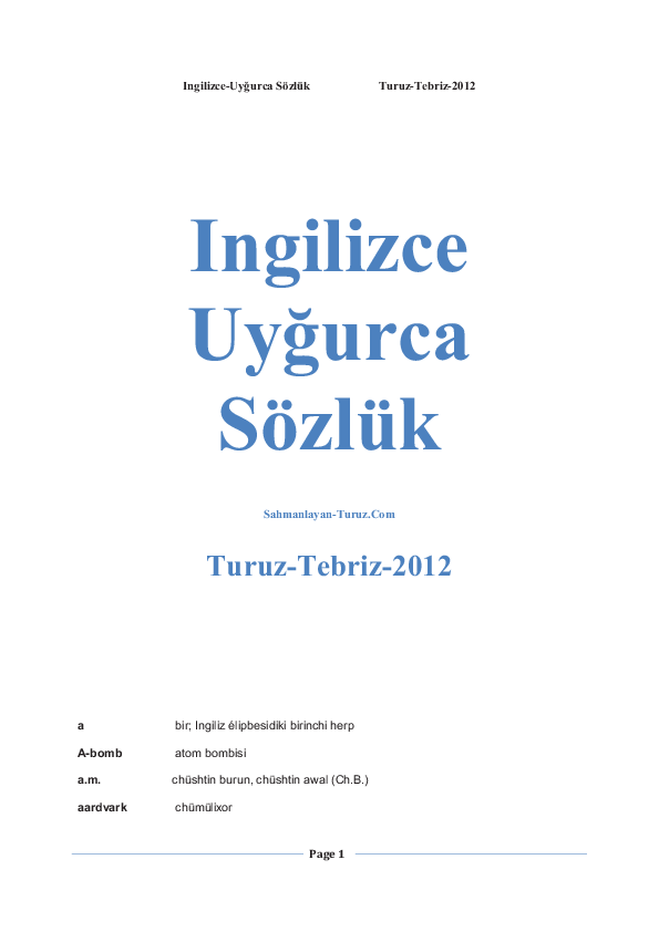 PDF) English _Uyghur vocabulary | Bilgi Tekin - Academia edu