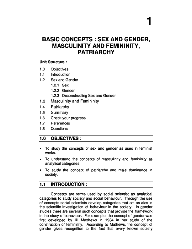 PDF) BASIC CONCEPTS : SEX AND GENDER, MASCULINITY AND
