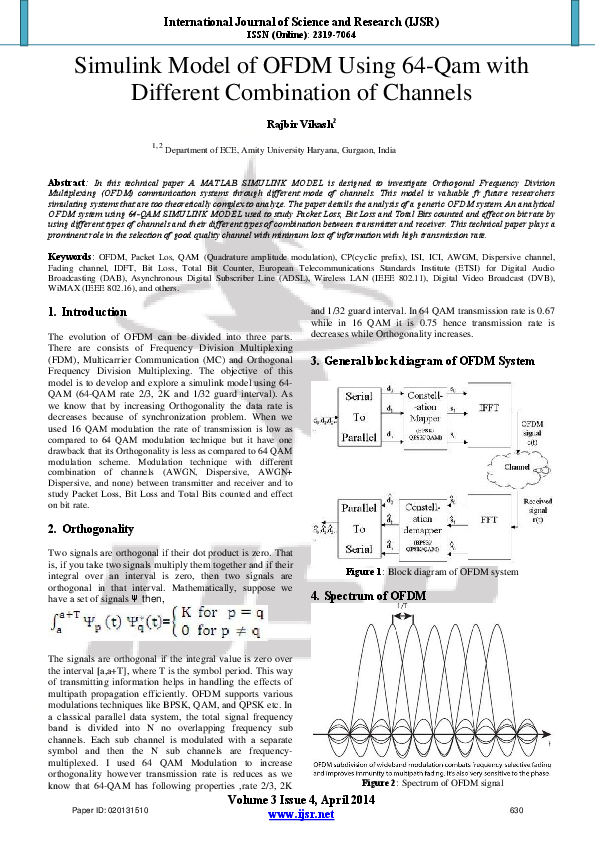 PDF) Simulink Model of OFDM Using 64-Qam with Different