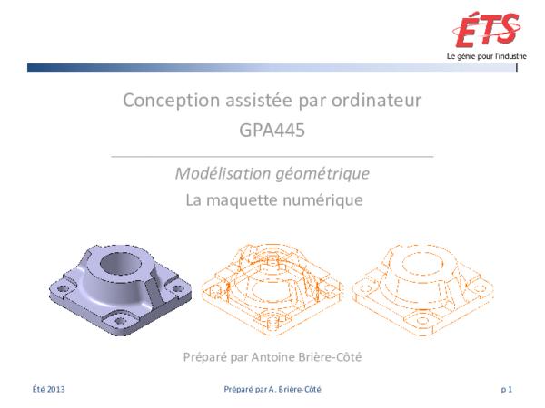 Pdf Conception Assistée Par Ordinateur Gpa445 Modélisation