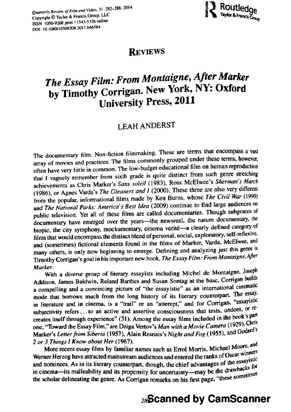 the essay film from montaigne after marker timothy corrigan