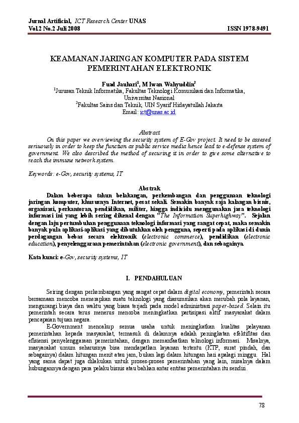 Pdf Keamanan Jaringan Komputer Pada Sistem Pemerintahan Elektronik Aroy Neversaypeace Academia Edu