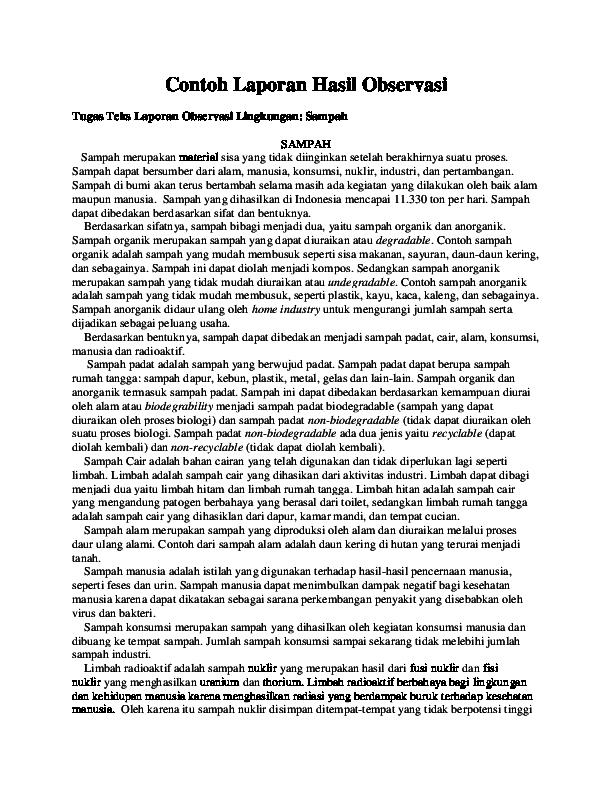 Doc Contoh Laporan Hasil Observasi Tugas Teks Laporan Observasi Lingkungan Sampah Sampah Ngurah Panji Academia Edu