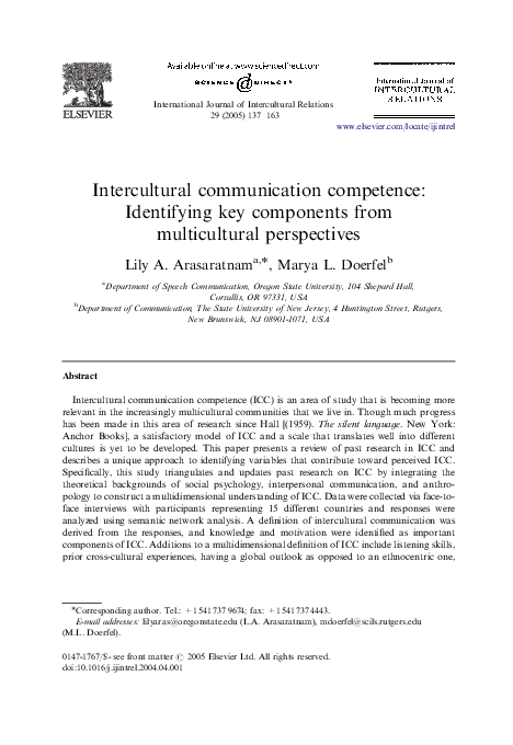 PDF) Intercultural Communication Competence: Identifying key