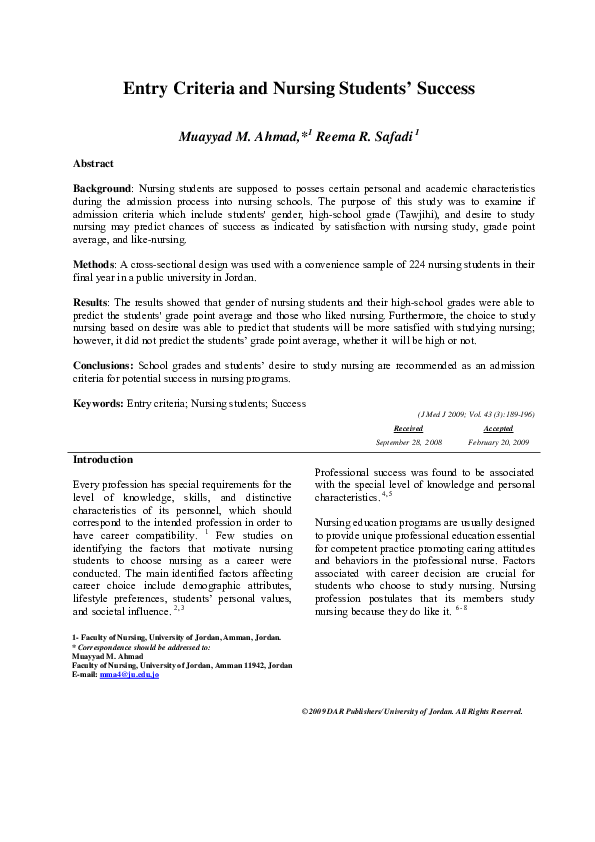 PDF) Entry Criteria and Nursing Students' Success   Muayyad