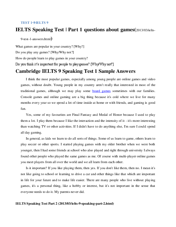 DOC) TEST 1IELTS 9 IELTS Speaking Test | Part 1 questions