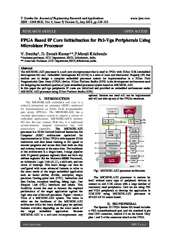 PDF) FPGA Based IP Core Initialization for Ps2-Vga Peripherals Using