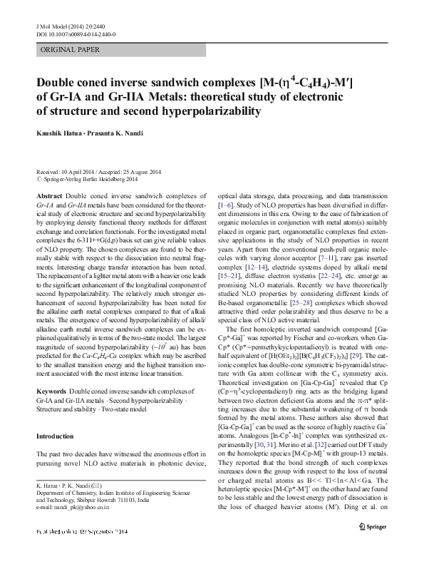 PDF) Double coned inverse sandwich complexes [M-(η4-C4H4)-M