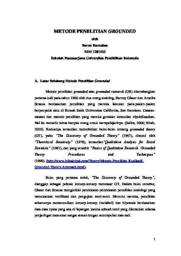 Doc Grounded Research Grounded Theory Metode Penelitian Grounded Oleh Baren Barnabas Baren Barnabas Academia Edu