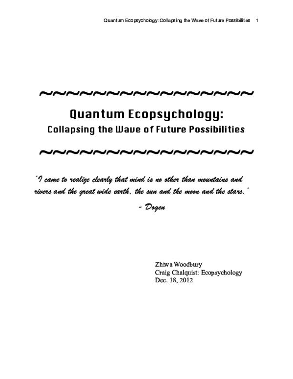 PDF) Quantum Ecopsychology | Zhiwa Woodbury - Academia edu