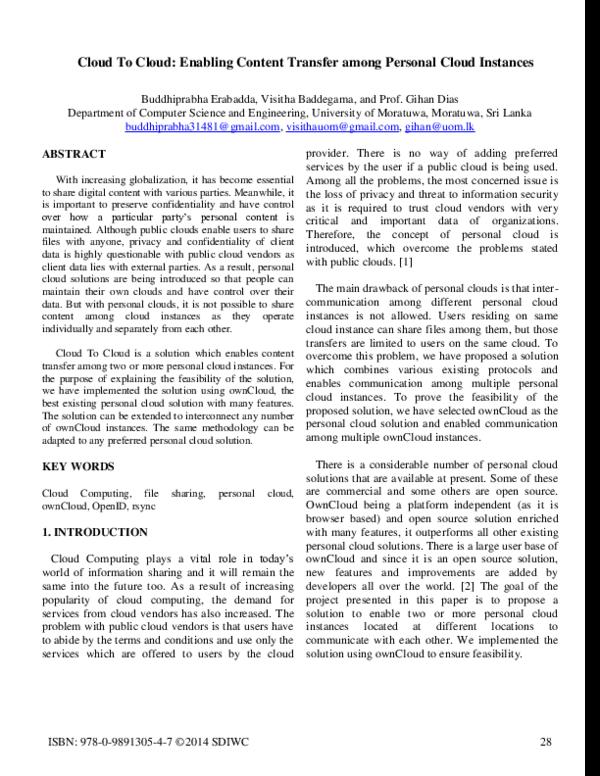 PDF) Cloud To Cloud: Enabling Content Transfer among
