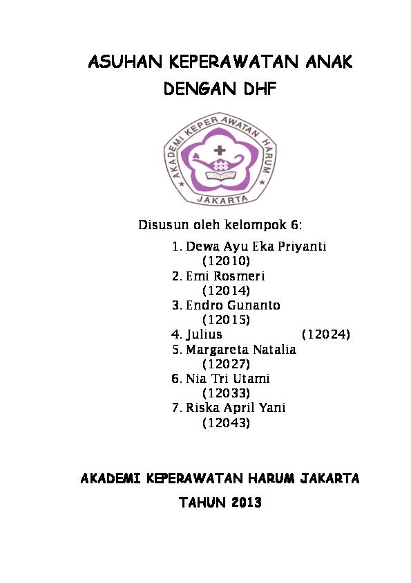 Askep Dhf Valerina Windawati Academia Edu