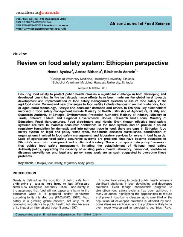 PDF) Food safety system: Ethiopian perspective | Henok