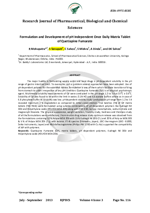 PDF) Formulation and Development of pH Independent Once