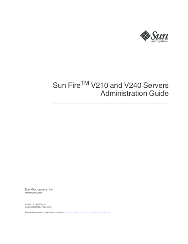PDF) Sun Fire TM V210 and V240 Servers Administration Guide Revision