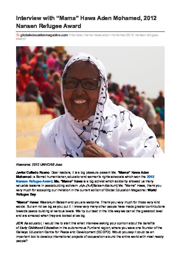 "PDF) Interview to ""Mama"" Hawa Aden Mohamed (Somalia), 2012 Nansen"