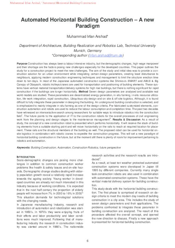 PDF) Automated Horizontal Building Construction – A new Paradigm