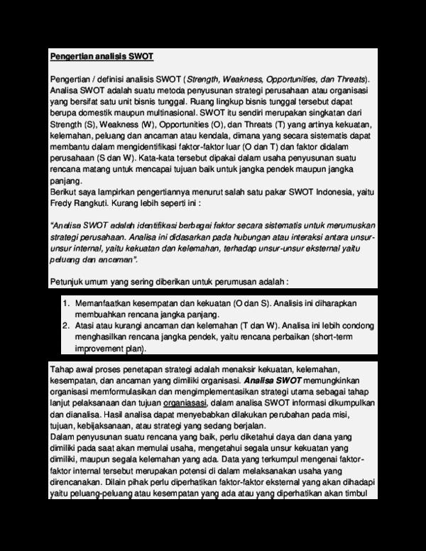 Doc A Swot Restu Nurdin Academia Edu