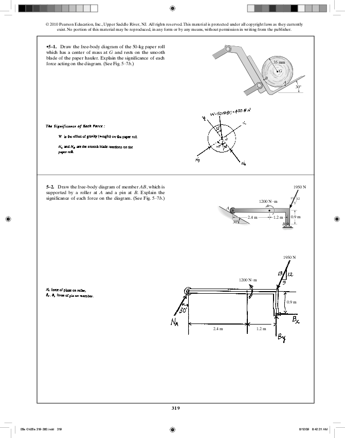 Collections Of Image For 1 Draw The Freebody Diagram And Determine The Reactions