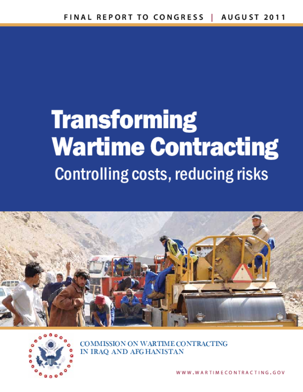 PDF) Transforming Wartime Contracting: Controlling costs
