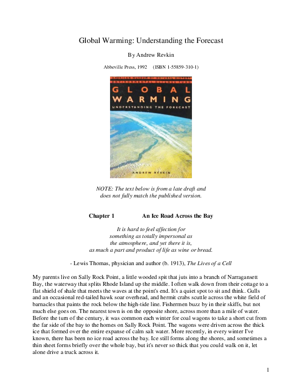 PDF) Global Warming: Understanding the Forecast | Andrew