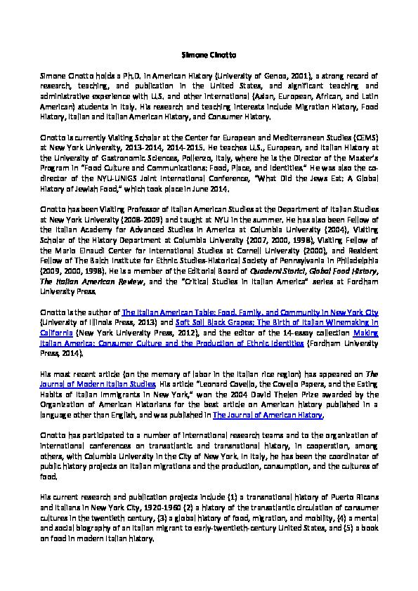 PDF) Simone Cinotto Short Bio | Simone Cinotto - Academia edu