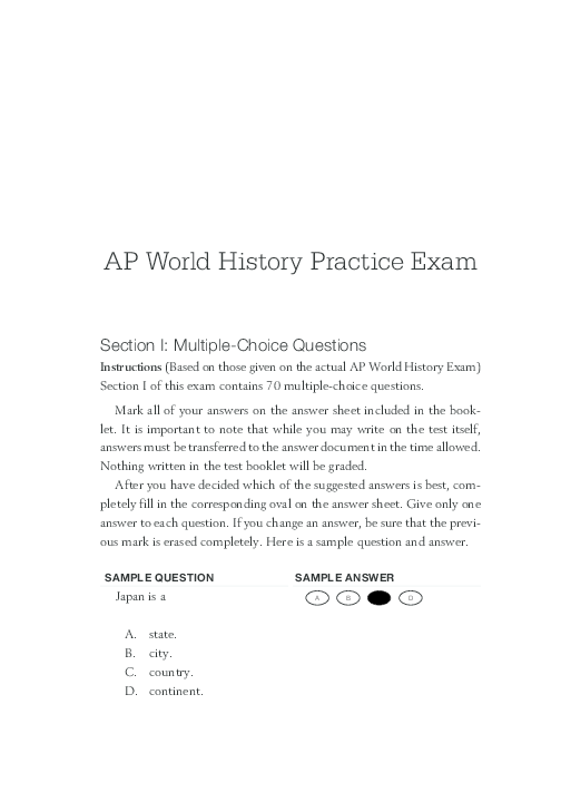 PDF) AP World History Practice Exam Section I: Multiple
