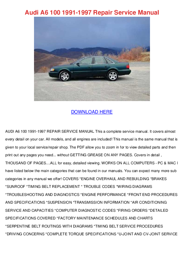 1991 Audi 100 Drive Belt Manual