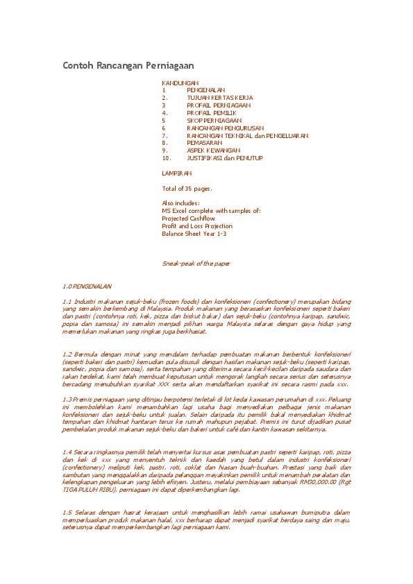 Doc Contoh Rancangan Perniagaan Shahrul Kamal Ramli Academia Edu