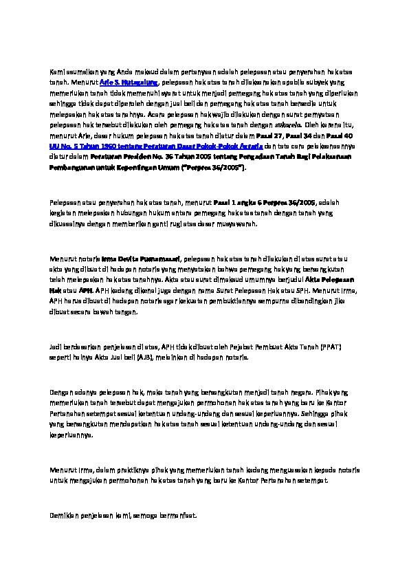 Doc Pelepasan Tanah Laqoinal Marhen Academiaedu