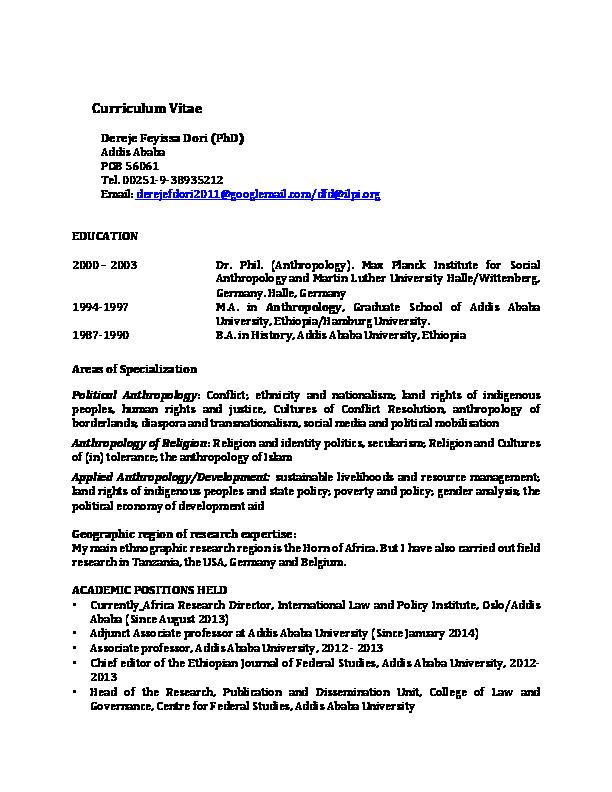 PDF) Dr  Dereje Feyissa | Dereje Feyissa - Academia edu