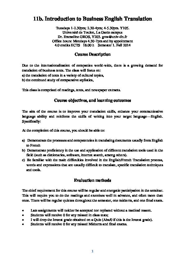 PDF) ENG 11b  Introduction to Business English Translation