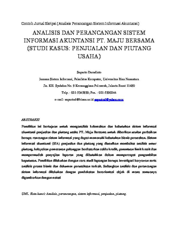 Doc Contoh Jurnal Skripsi Analisis Perancangan Sistem Informasi