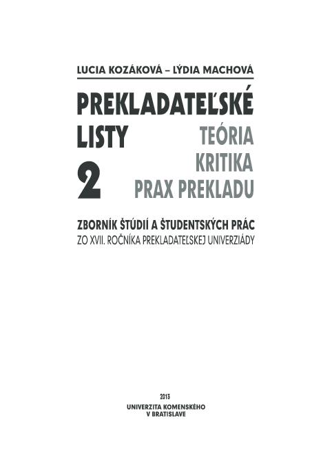0fdb0dd95848 Prekladateľské listy 2  Translation Letters 2  (ed.)