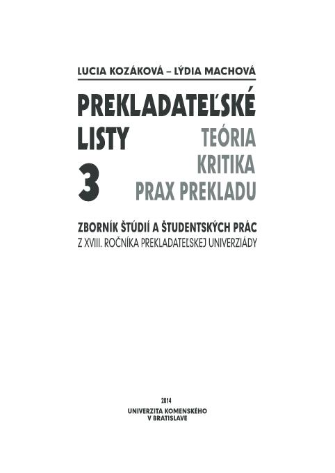 Prekladateľské listy 3  Translation Letters 3  (ed.)  0cfe725c9d7