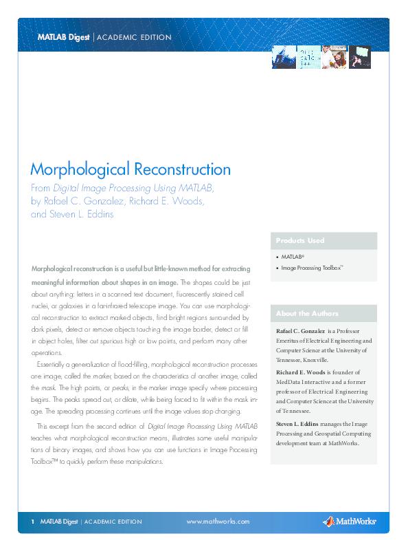 PDF) Morphological Reconstruction From Digital Image