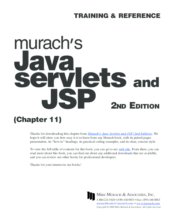 PDF) TRAINING & REFERENCE Java servlets and JSP 2ND EDITION | deepak