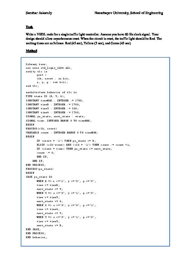 PDF) VHDL code for a single traffic light controller | Sanzhar