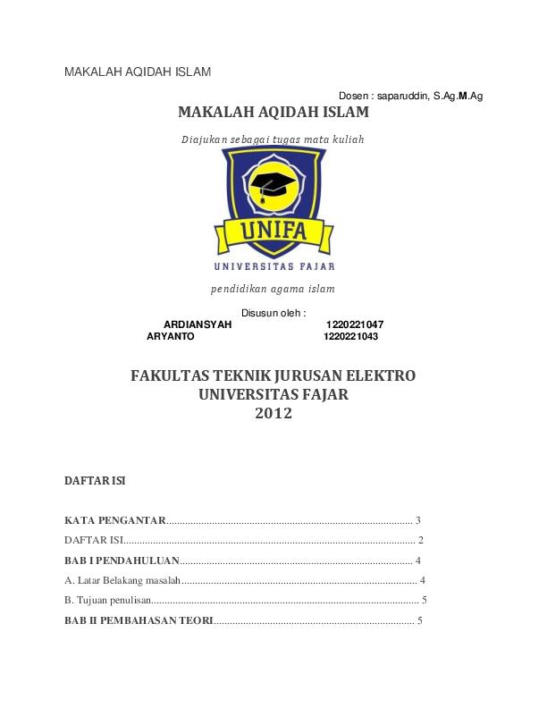 Doc Makalah Aqidah Islam Irwan Muhammad Academia Edu