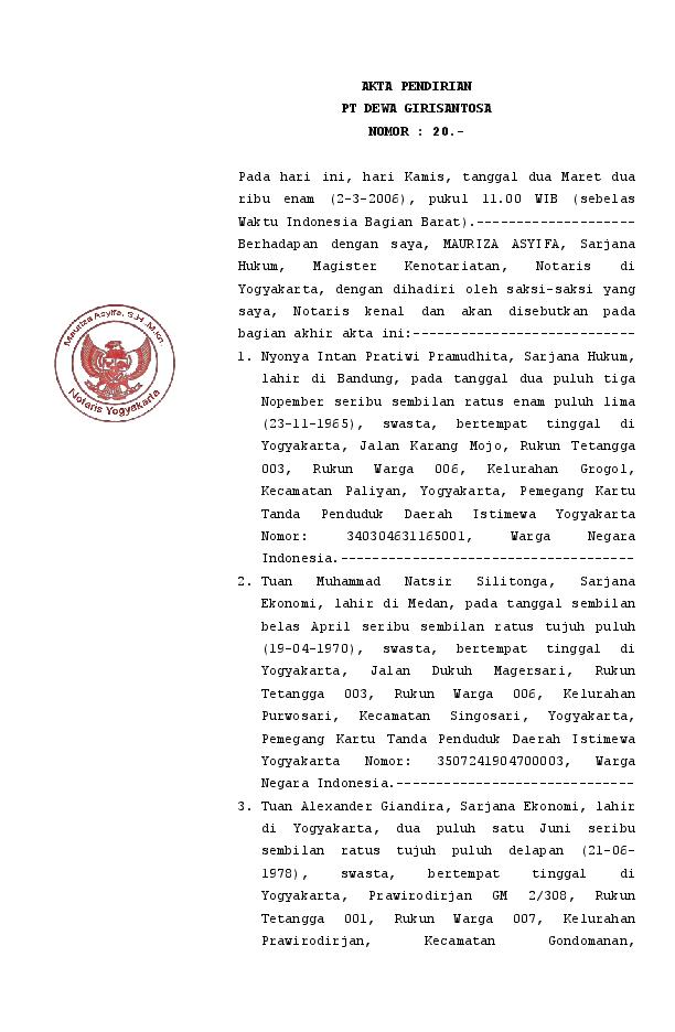 Doc Akta Pendirian Pt Dewa Girisantosa Nomor Mauriza
